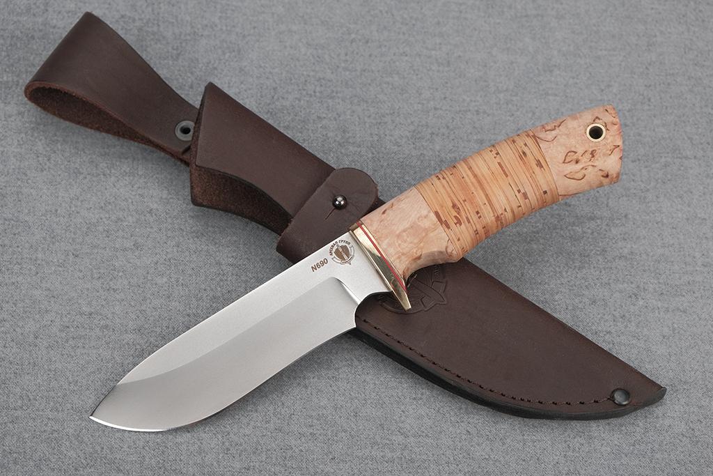 "Нож ""Скаут"" (N690, карельская береза, береста)"