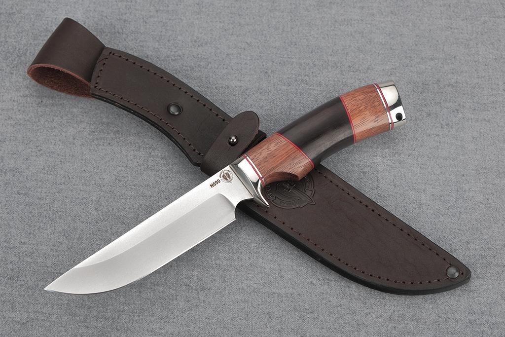 "Нож ""Варан"" (N690, литье мельхиор, бубинга, граб)"