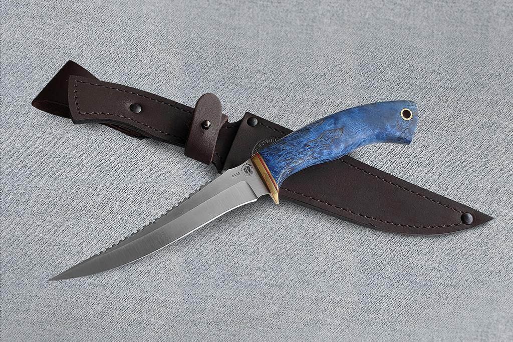 """Нож """"Рыбак-2"""" (S390, стабилизированная карельская береза)"""