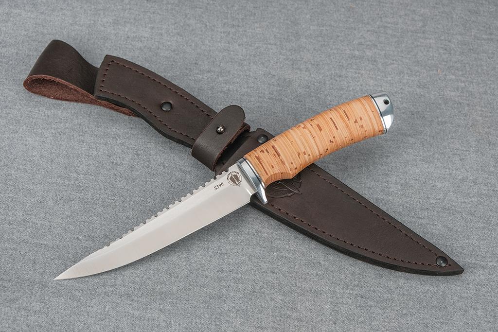 "Нож ""Рыбак-3"" (S390, дюраль, береста)"