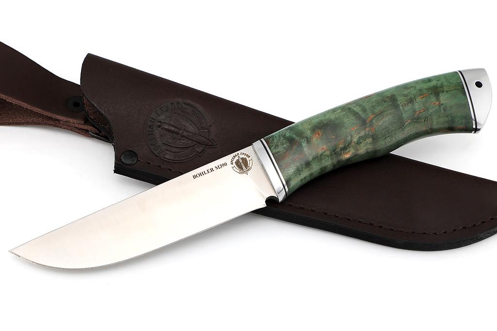 """Нож """"Лиса - 2"""" (BOHLER M390, дюраль, стабилизированная карельская береза)"""
