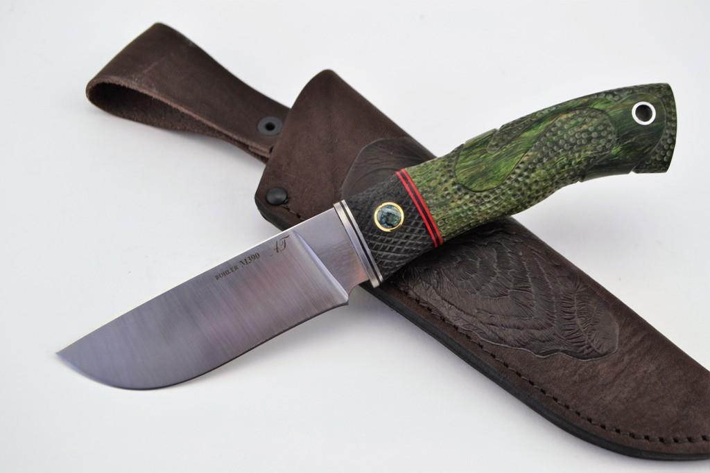 """Нож """"Бобр"""" (BOHLER M390, титан, стабилизированная карельская береза, граб, резная рукоять, клык мамонта)"""