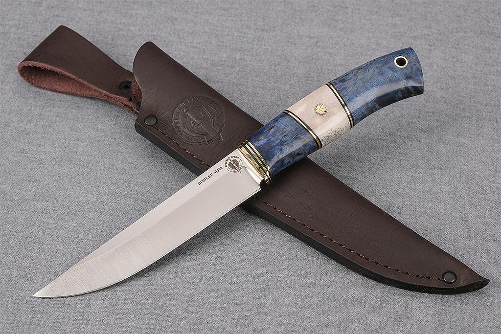 """Нож """"Финский-2"""" (М390, стабилизированная карельская береза, рог, мозаичный пин)"""