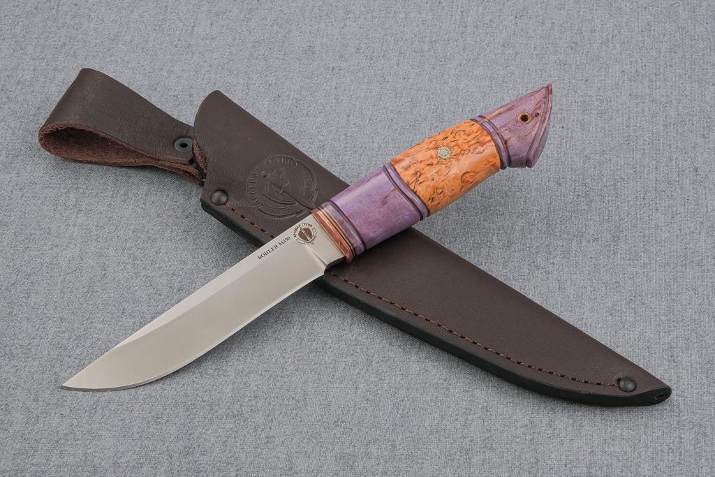 """Нож """"Финский"""" (М390, стабилизированная карельская береза, мозаичный пин, резьба)"""