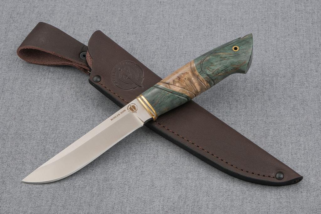 """Нож """"Финский"""" (М390, стабилизированная карельская береза, резьба)"""