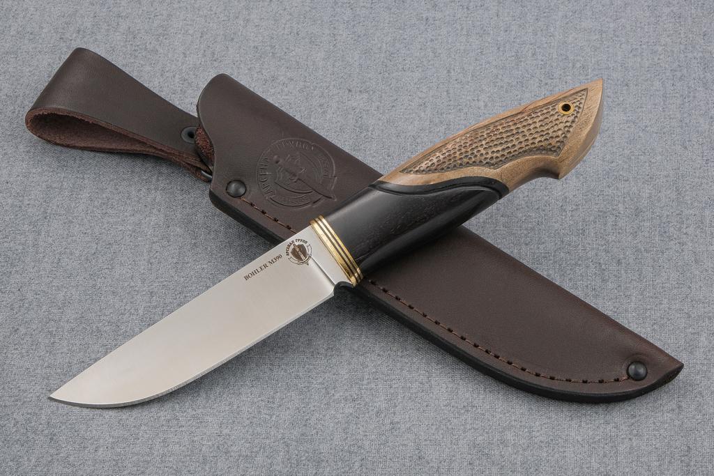"""Нож """"Лиса-2"""" (М390, граб, стабилизированная карельская береза, резьба)"""