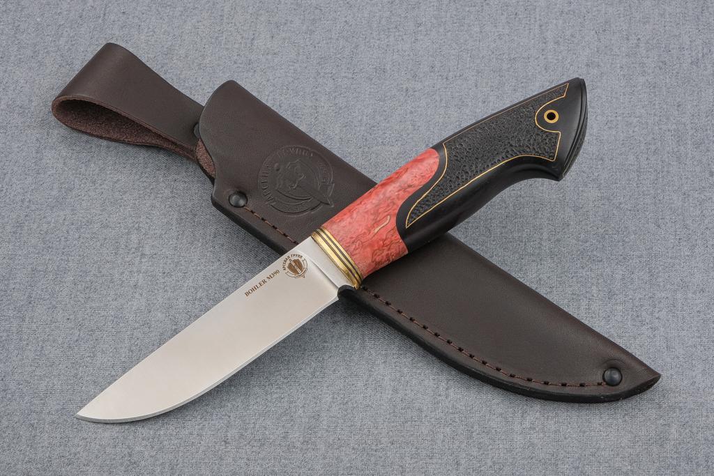 """Нож """"Лиса-2"""" (М390, стабилизированная карельская береза, граб, инкрустация, резьба)"""