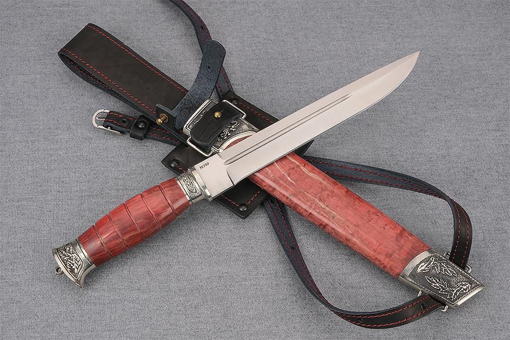 """Нож """"Пластунский"""" ( М390, стабилизированная карельская береза, деревянные ножны)"""