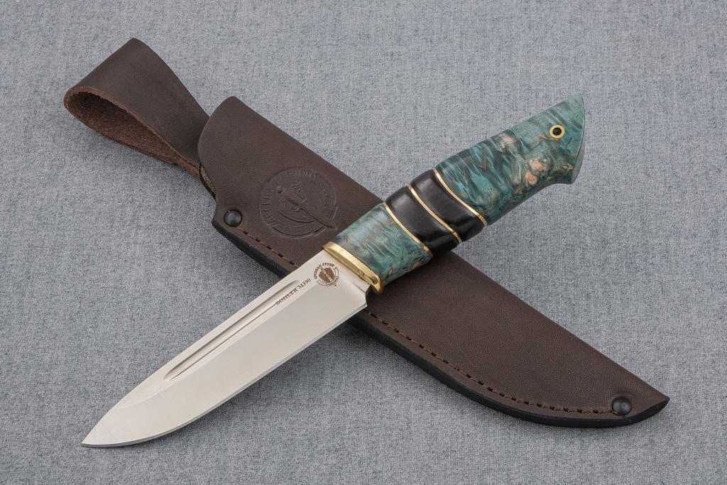 """Нож """"Арсенал"""" (М390, стабилизированная карельская береза, граб, резьба)"""
