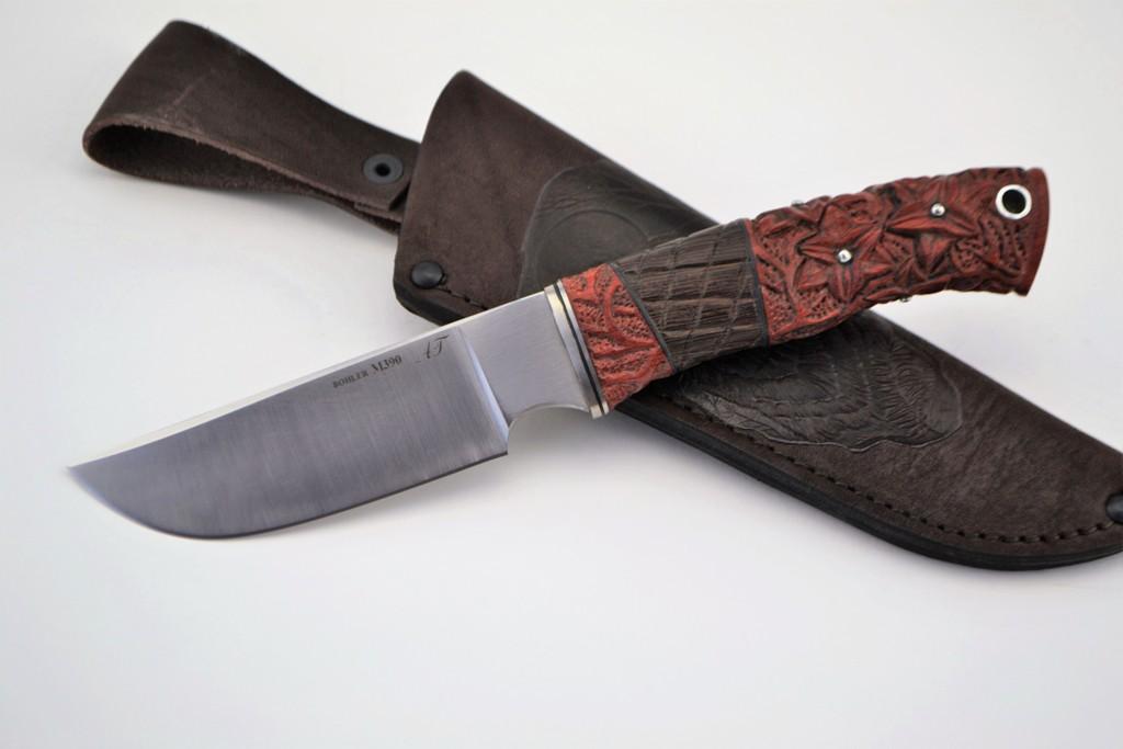 """Нож """"Бизон"""" (BOHLER M390 MICROCLEAN, титан, кровавое дерево, венге, резная рукоять)"""