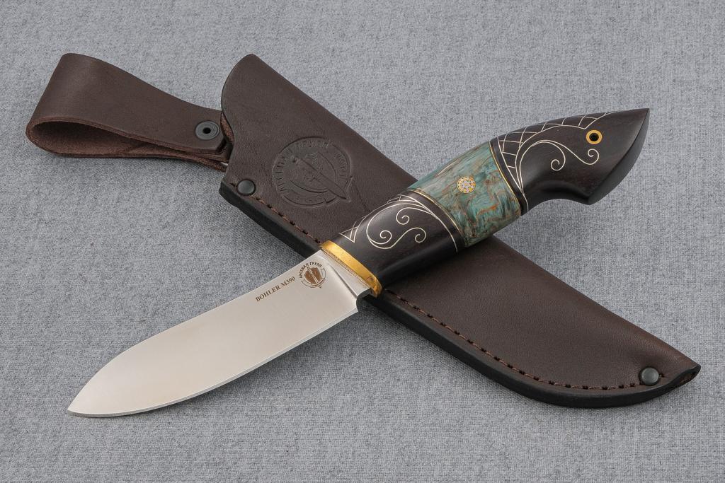 """Нож """"Лань"""" (М390, стабилизированная карельская береза, граб, инкрустация серебром, мозаичный пин)"""