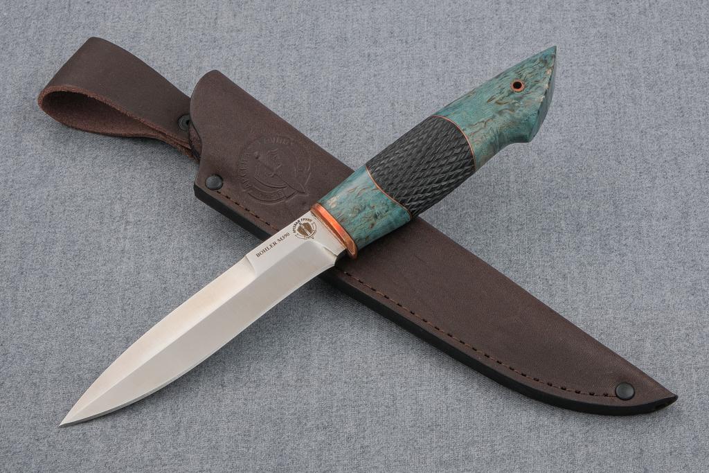 """Нож """"Перо"""" (М390, стабилизированная карельская береза, граб, резьба)"""