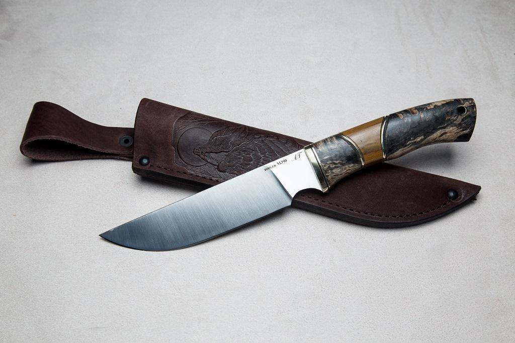 """Нож """"Рысь"""" (М390, стабилизированная карельская береза, текстолит)"""