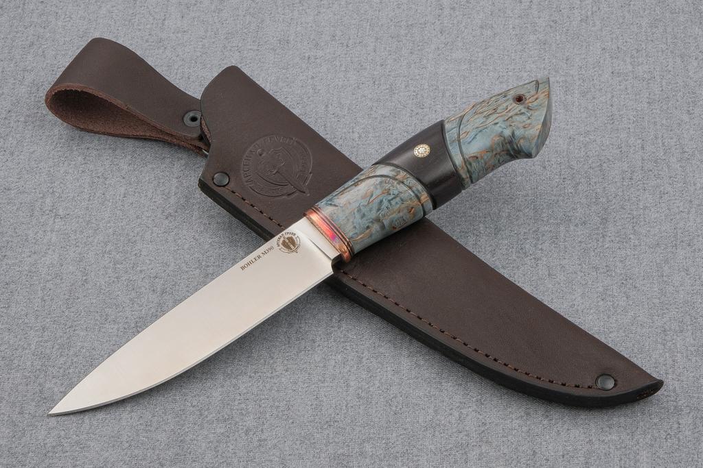 """Нож """"Рысь-2"""" ( М390, стабилизированная карельская береза, граб, резьба, мозаичный пин)"""