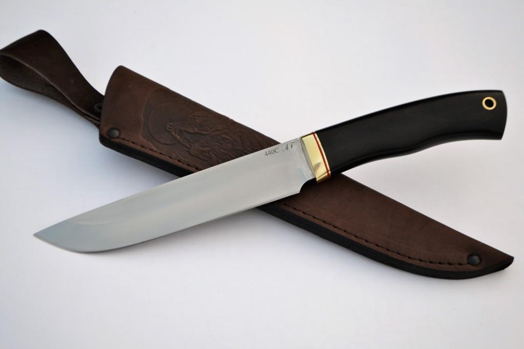 """Нож """"Турист"""" (440С, литье латунь, граб)"""
