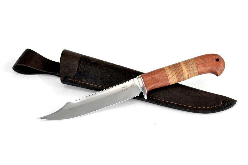 "Нож ""Рыбак"" (Кованая сталь 95х18, бубинга, береста)"