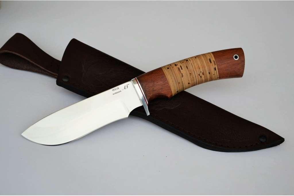 "Нож ""Скаут"" (Кованая сталь 95Х18, бубинга, береста)"