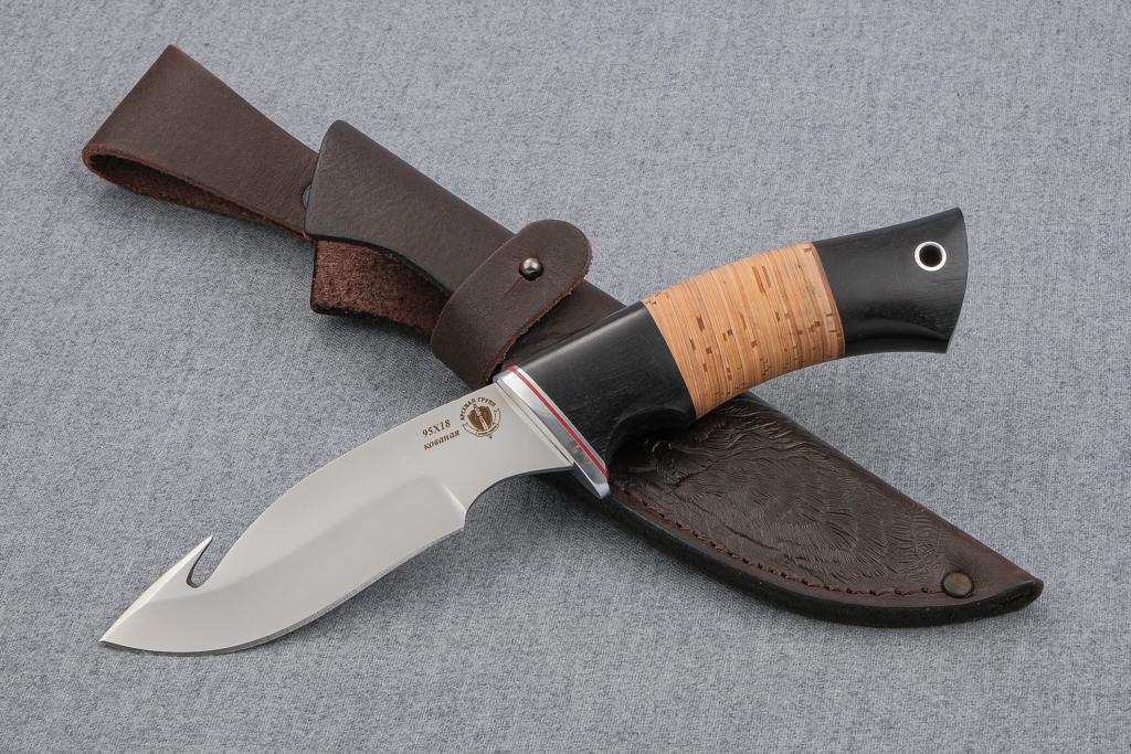 "Нож ""Скиннер"" (Кованая сталь 95Х18, граб, береста)"