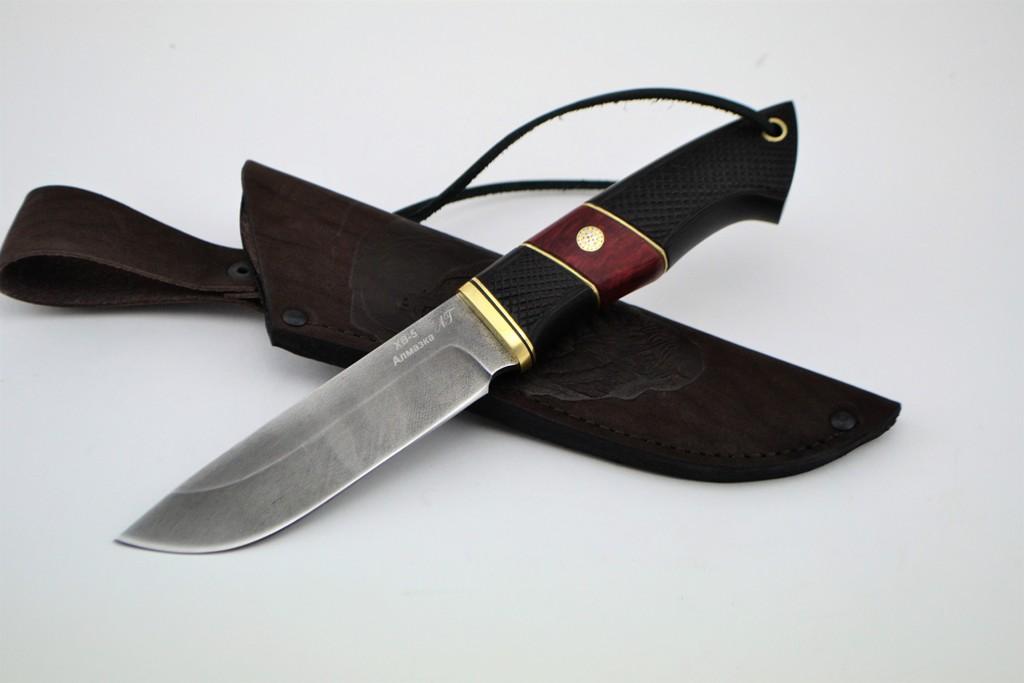 """Нож """"Лиса"""" (Алмазная сталь ХВ-5, граб резной, стабилизированная карельская береза, художественный пин)"""