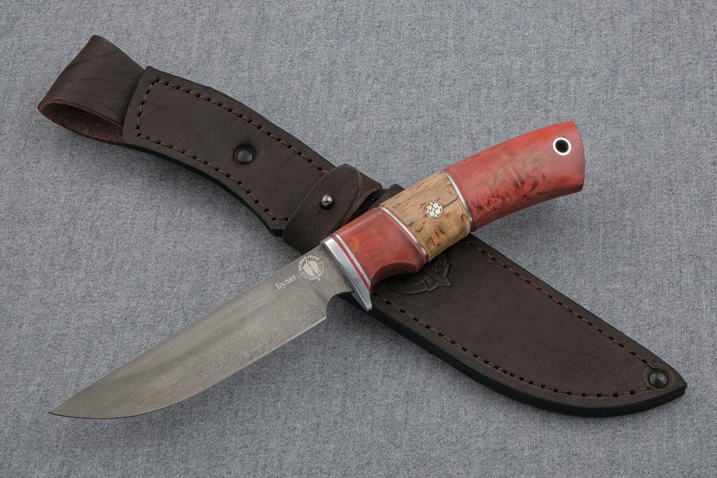 Нож Варан (Булат, стабилизированная карельская береза, карельская береза, мозаичный пин)