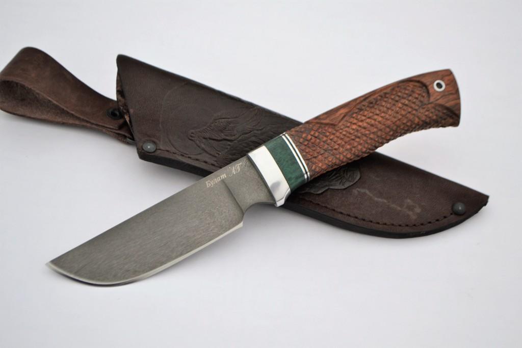 "Нож ""Бизон"" (Булат, премиум бубинга, резьба)"