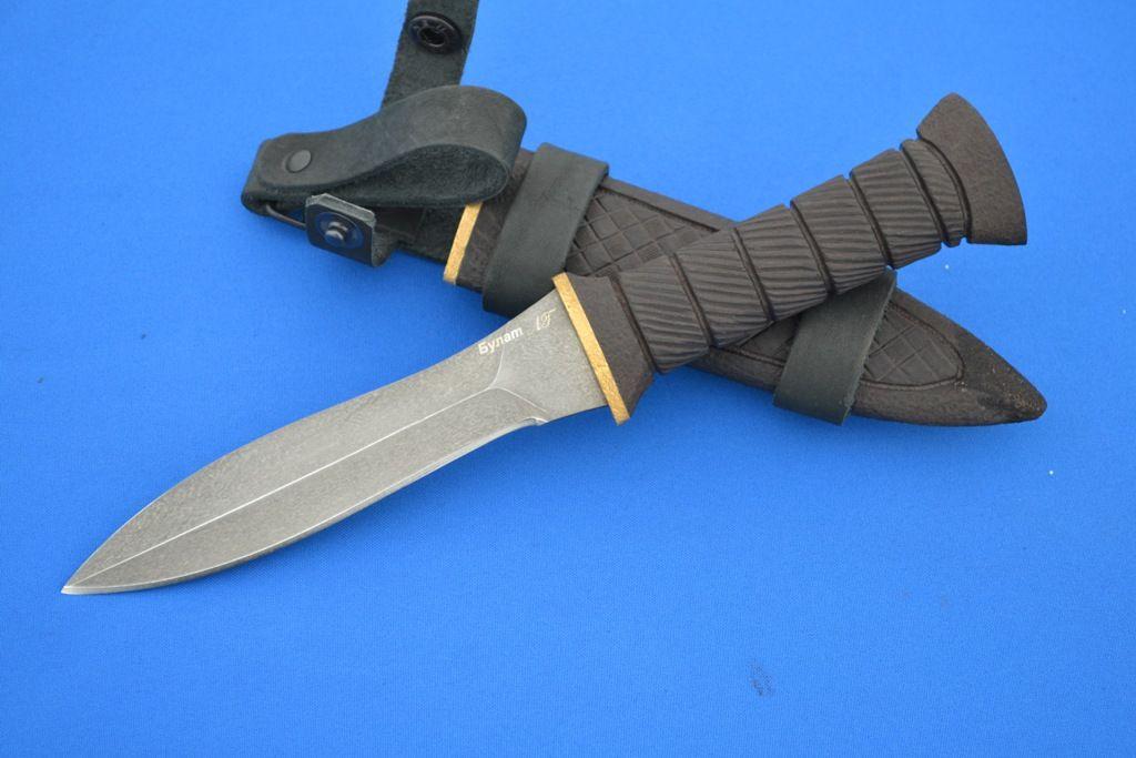 """Нож """"Гладиатор"""" (Тигельный булат, граб резной) деревянные ножны"""