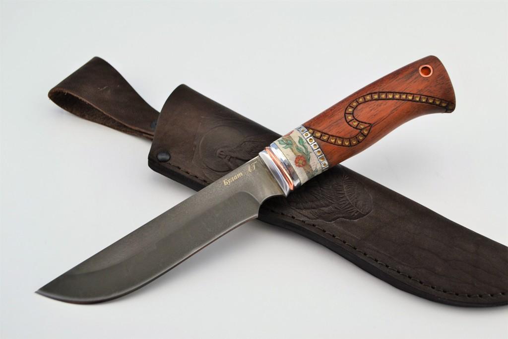 """Нож """"Ягуар"""" (Булат, бубинга, рог лося, ручная резьба, скримшоу)"""