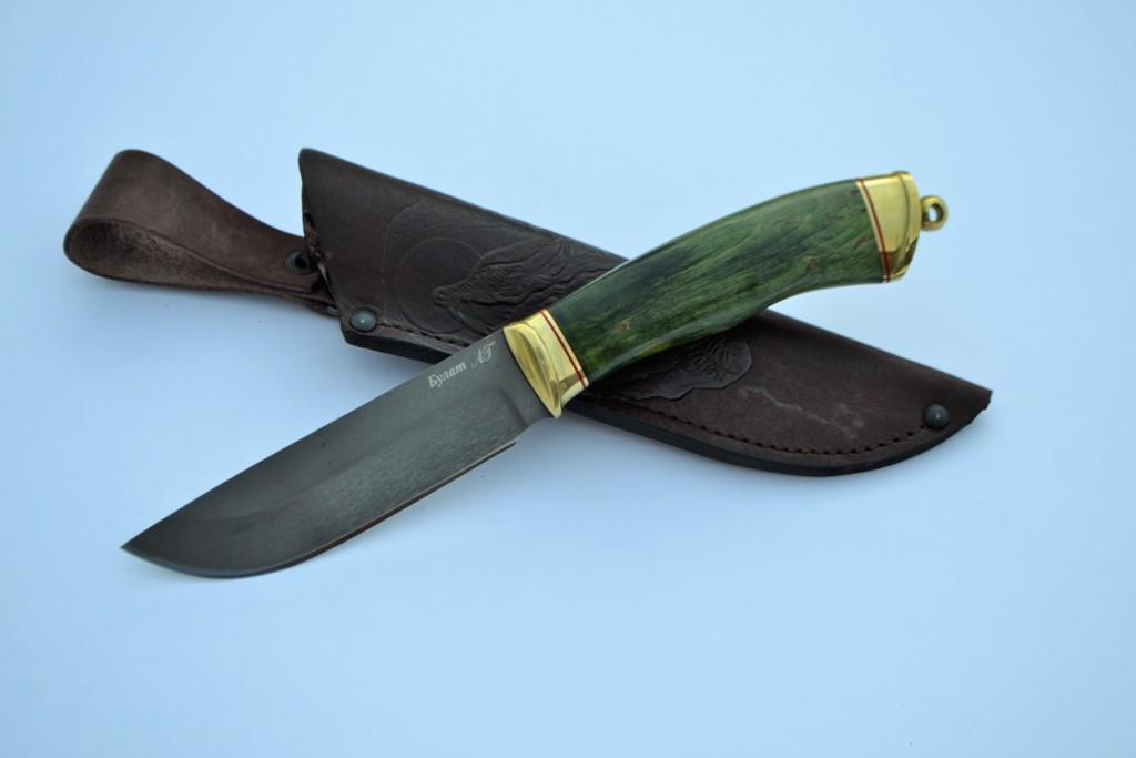 """Нож """"Лиса"""" (Булат, литье латунь, стабилизированная карельская береза)"""