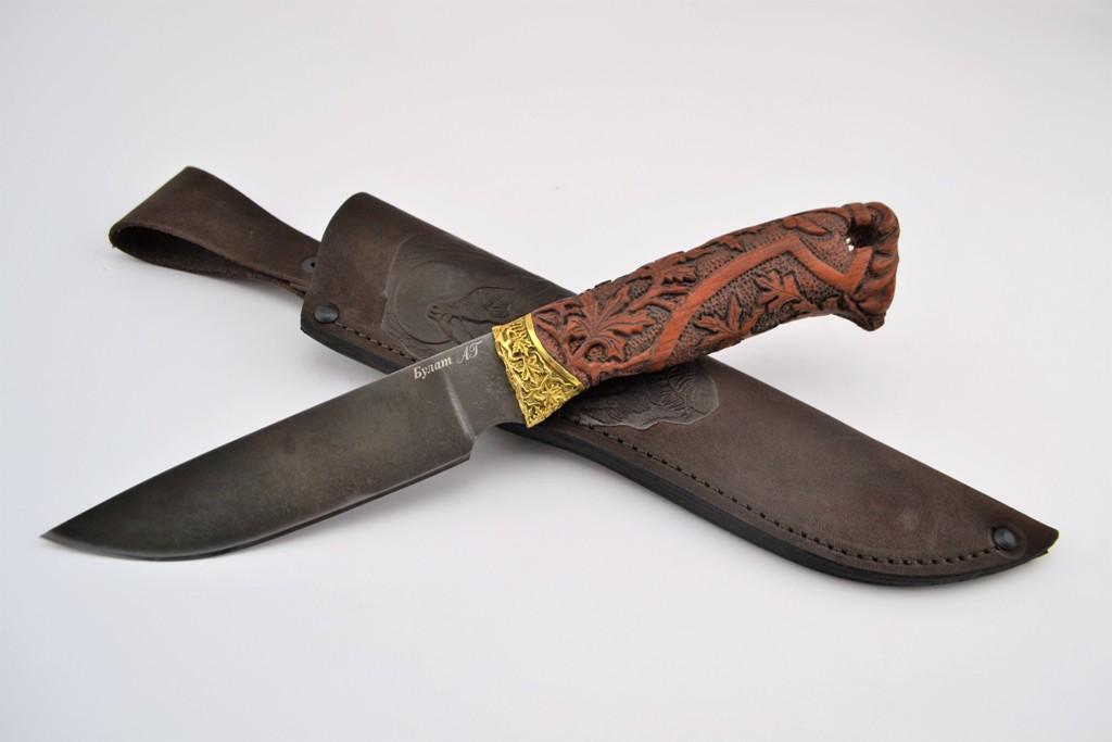 """Нож """"Рысь"""" (Булат, художественное литье латунь, бубинга, резная рукоять)"""
