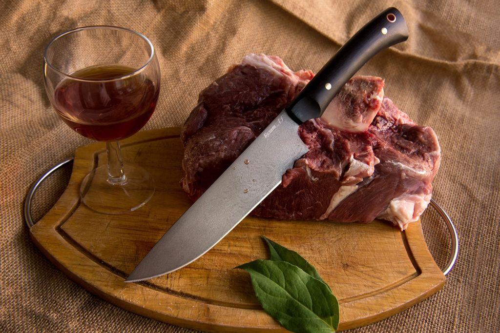 "Нож ""Шеф-повар-5"" (Булат, граб, цельнометаллический)"