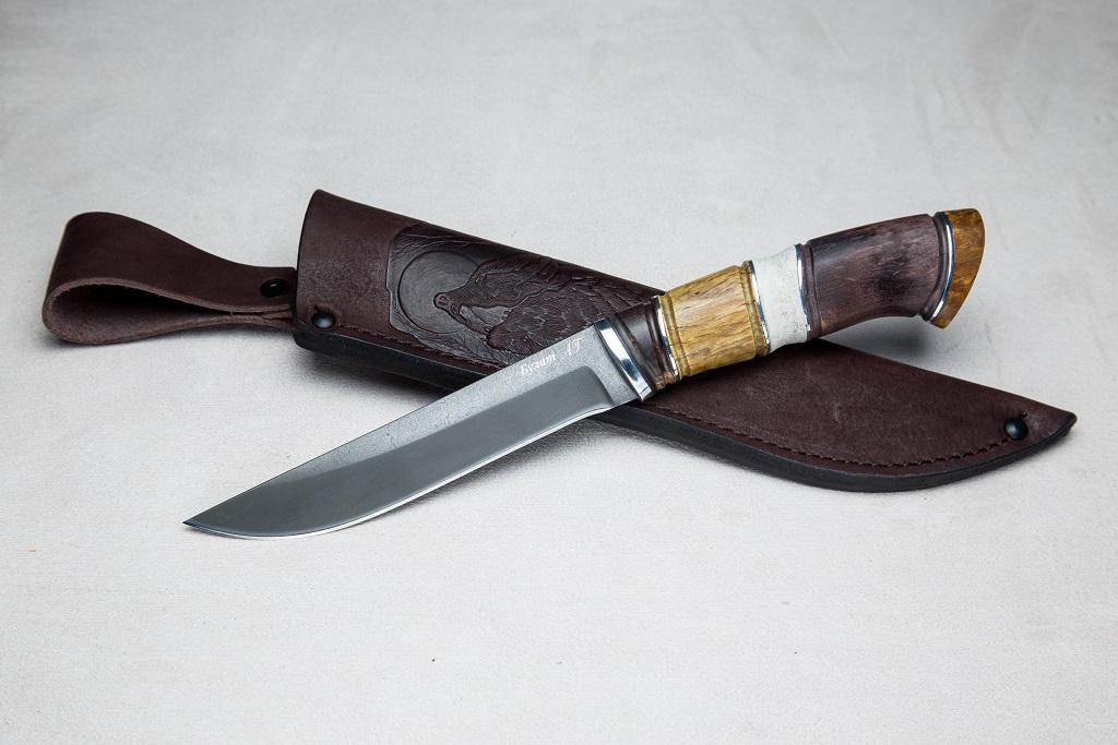 """Нож """"Ласка"""" (Булат, премиум рукоять, комбинированная стаб. карельская береза, рог лося, резьба ручной работы)"""