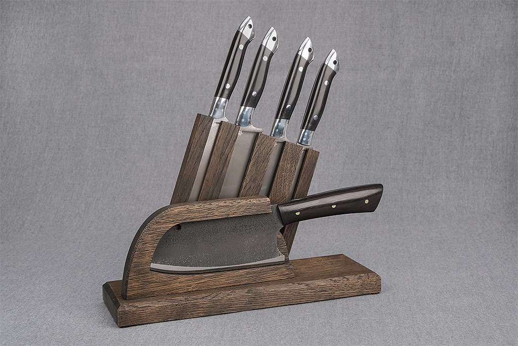 Набор ножей для кухни №2 (Тигельный булат, граб, цельнометаллические)