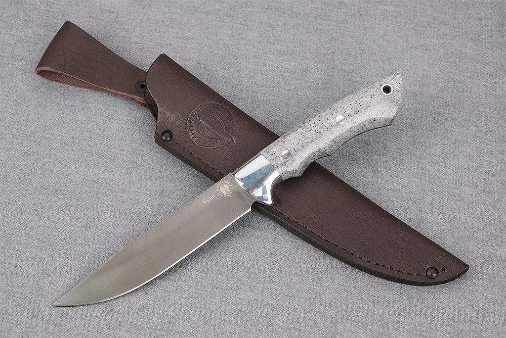 "Нож ""Коршун"" (Тигельный булат, цельнометаллический, кориан, искусственный камень)"