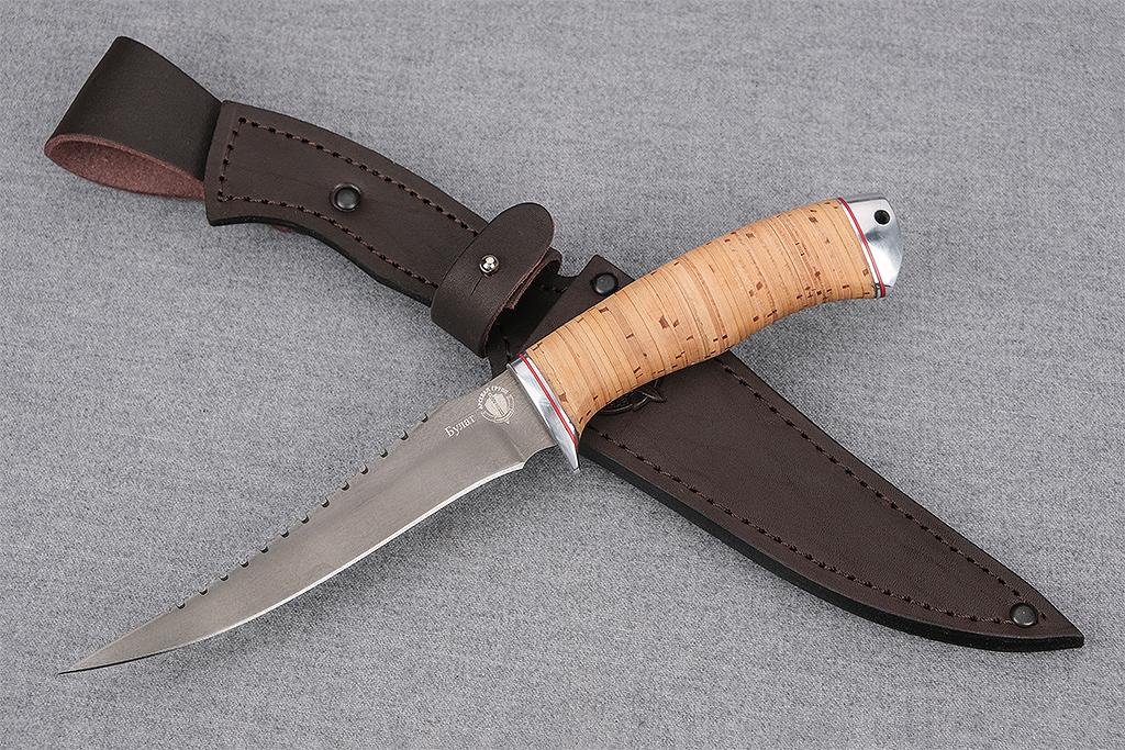"""Нож """"Рыбак-2"""" (Тигельный булат, береста, дюраль)"""