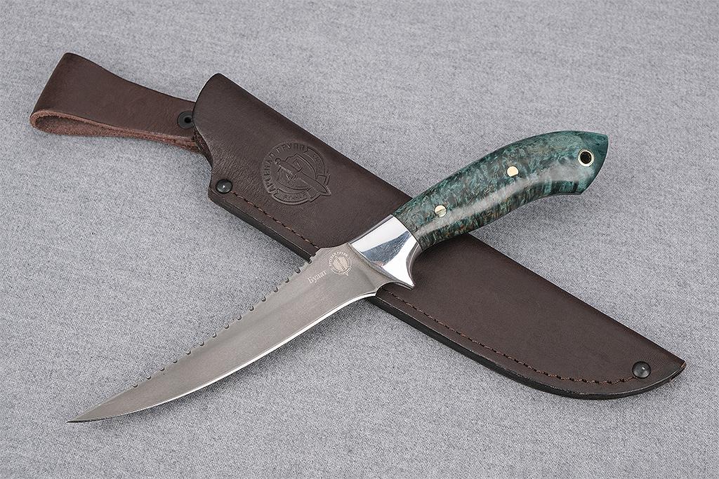 """Нож """"Рыбак-2"""" (Тигельный булат, цельнометаллический, стабилизированная карельская береза)"""