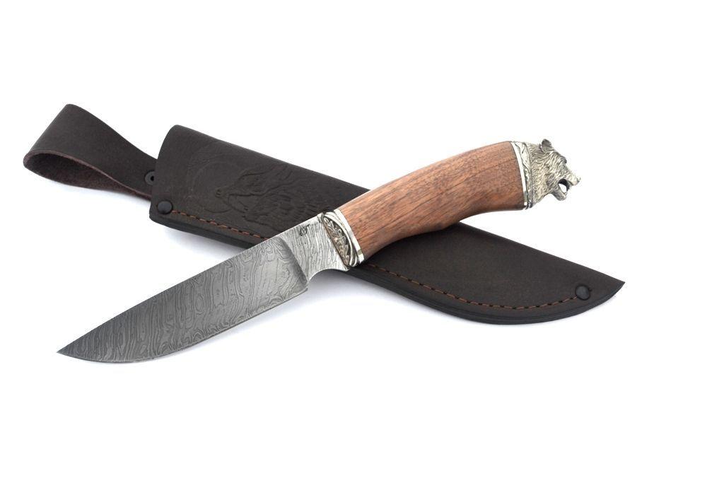"""Нож """"Рысь"""" (Дамасская сталь, художественное литье мельхиор, орех)"""