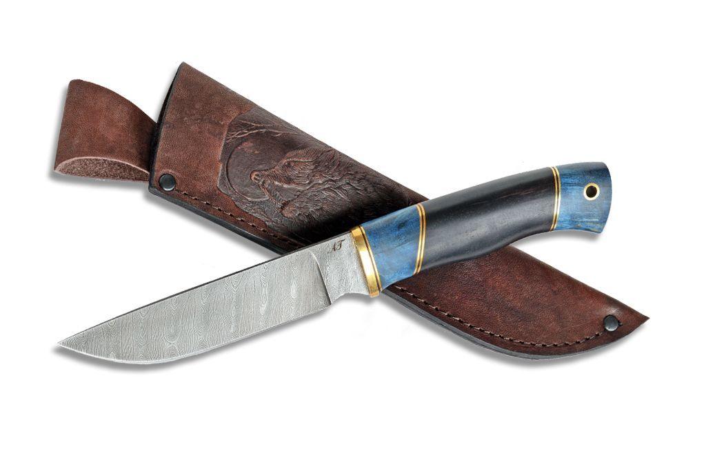"Нож ""Рысь"" (Дамасская сталь, граб, стабилизированная карельская береза)"