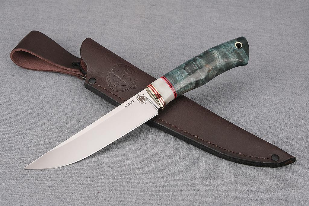 """Нож """"Финский-2"""" (Elmax, стабилизированная карельская береза, рог)"""