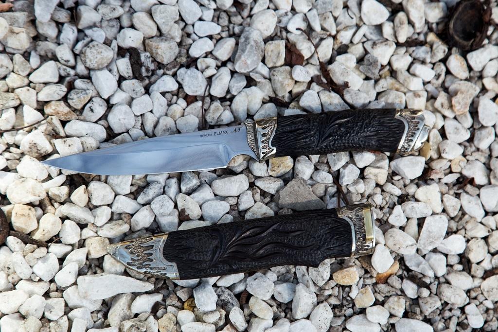"""Нож """"Каратель"""" (ELMAX, художественное литье мельхиор, граб резной) деревянные ножны"""