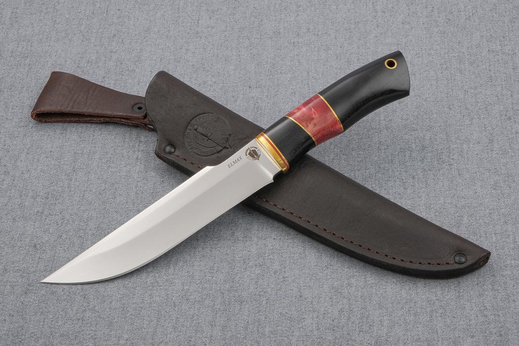 """Нож """"Таёжный"""" (ELMAX, граб, вставка стабилизированная карельская береза)"""