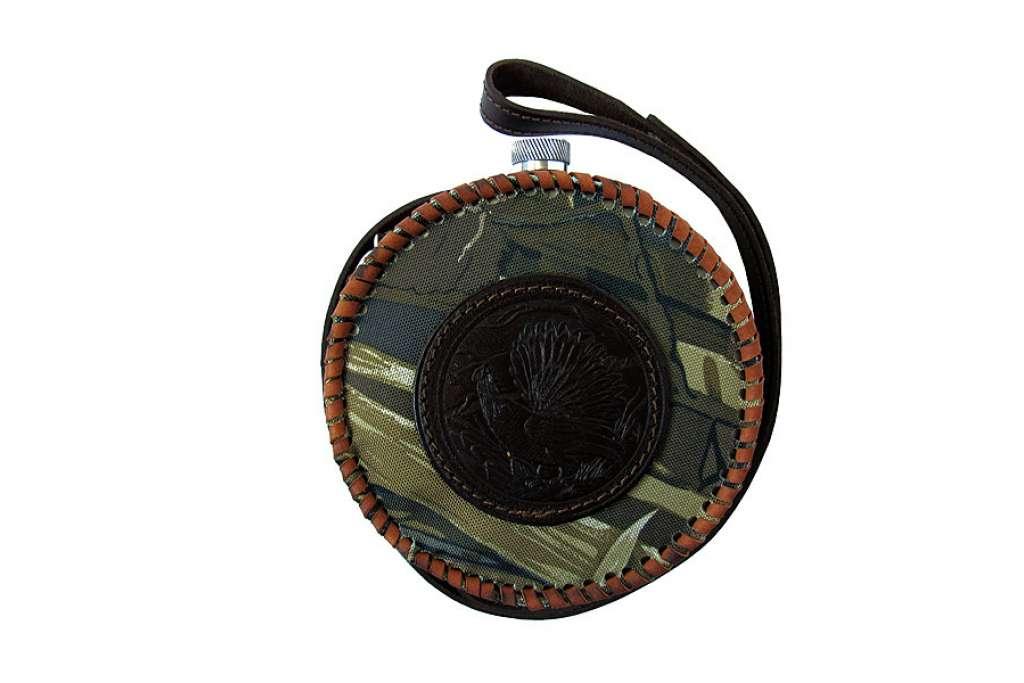 Фляжка круглая 1,0 литр из нержавеющей стали в комбинированном чехле