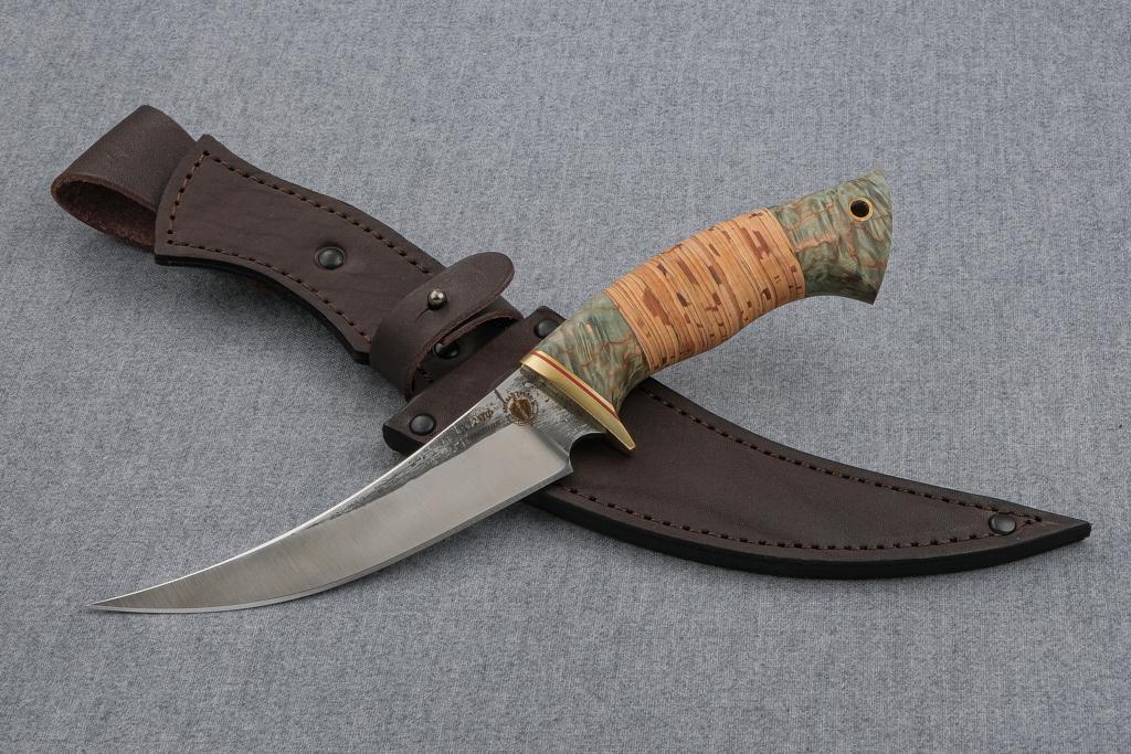 """Нож """"Восточный""""  (Х12МФ, стабилизированная карельская береза, береста)"""