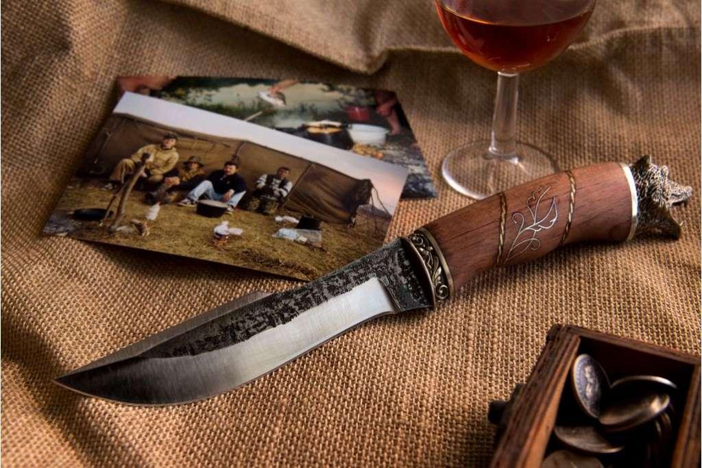 """Нож """"Медведь"""" (Х12МФ, художественное литье мельхиор, бубинга)"""