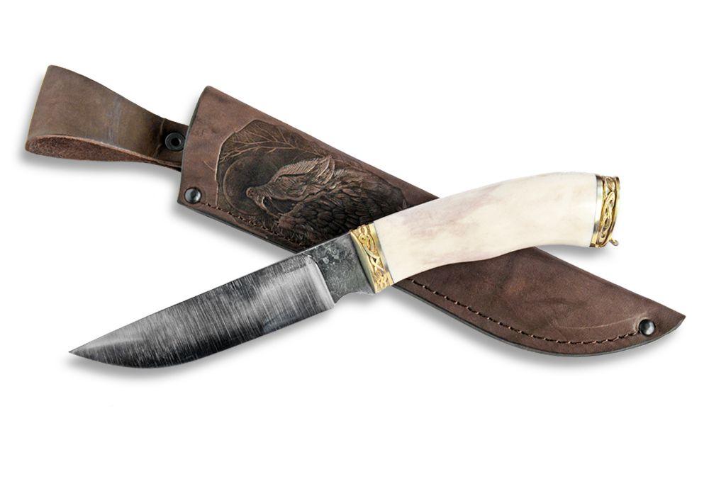 """Нож """"Рысь"""" (Х12МФ, художественное литье мельхиор, рог лося)"""