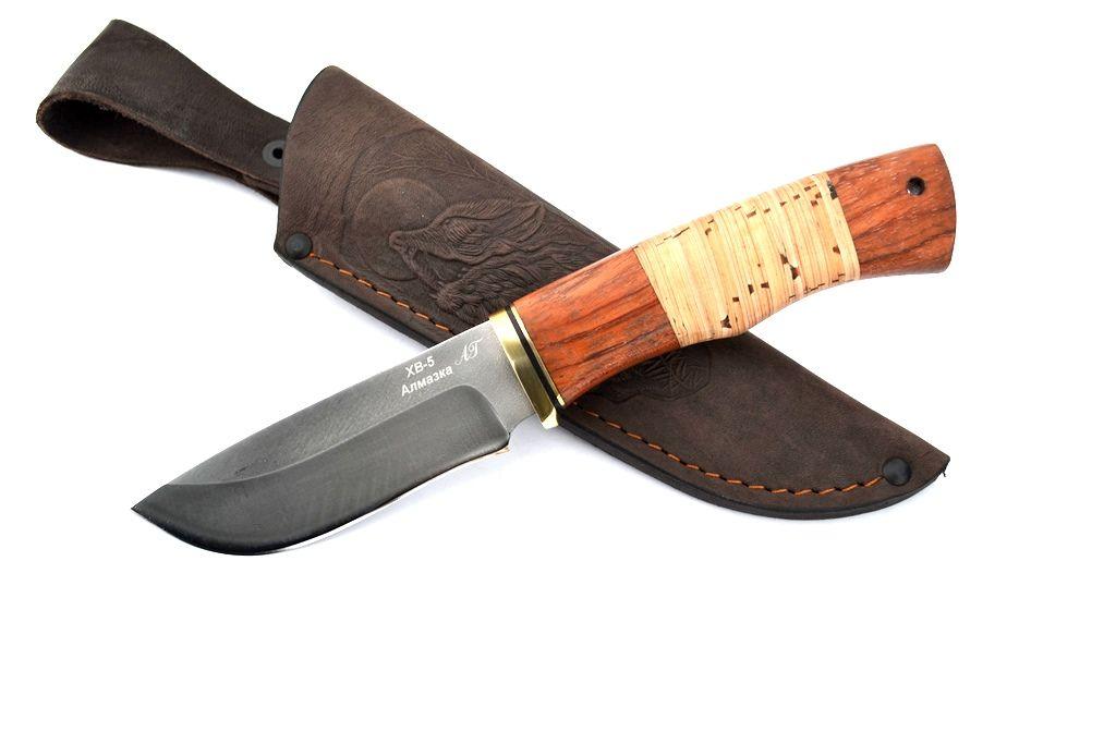 """Нож """"Бобр"""" (Алмазная сталь ХВ-5, бубинга, береста)"""
