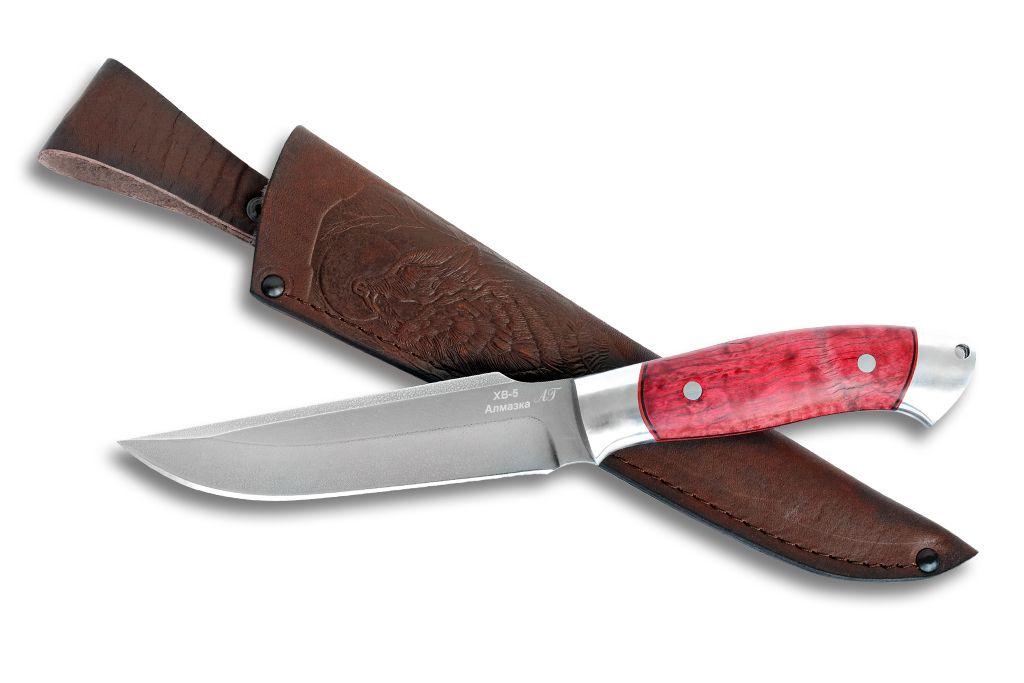 """Нож """"Охотник"""" (Алмазная сталь ХВ-5, дюраль, стабилизированная карельская береза, цельнометаллический)"""