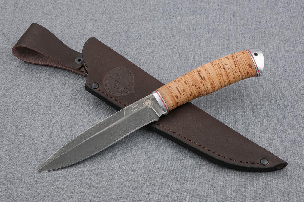 """Нож """"Перо"""" (Алмазная сталь ХВ-5, береста, дюраль)"""