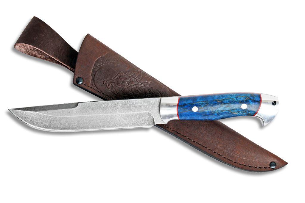 """Нож """"Турист"""" (Алмазная сталь ХВ-5, дюраль, стабилизированная карельская береза, цельнометаллический)"""