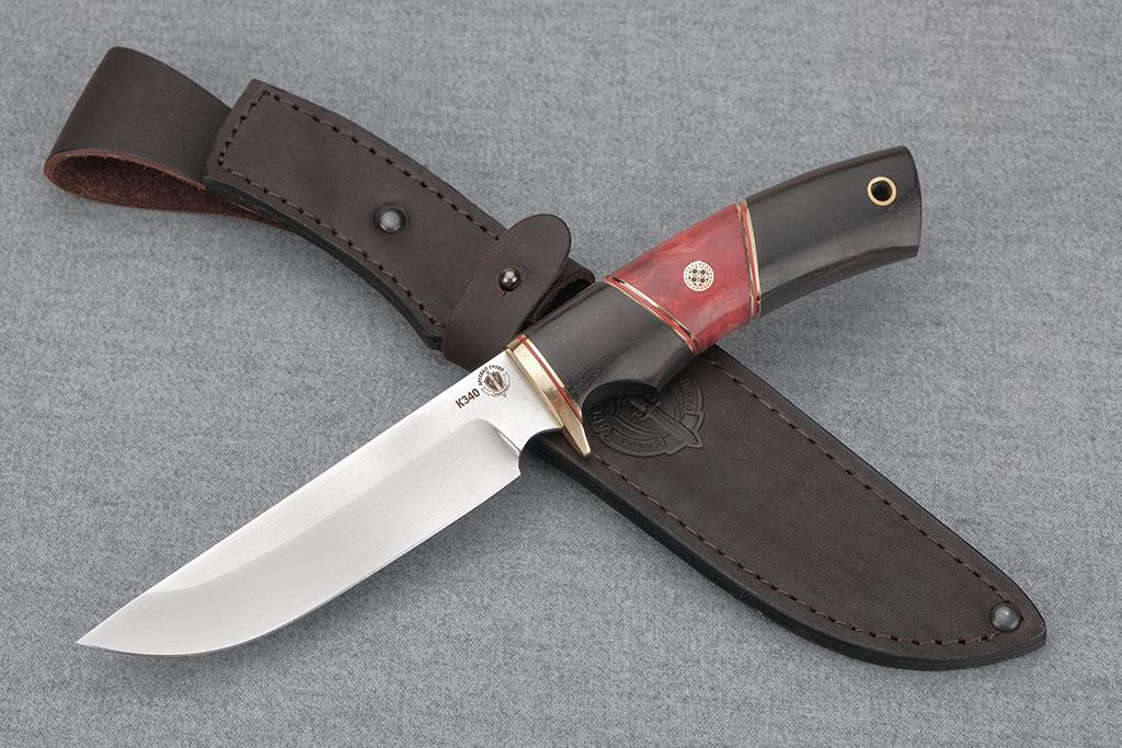 """Нож """"Варан"""" (Bohler К340, граб, стабилизированная карельская береза, мозаичный пин)"""