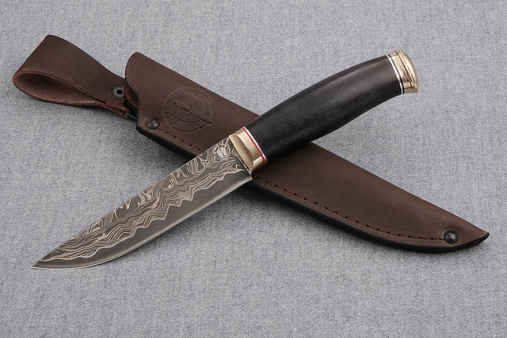 """Нож """"Финский-2"""" (ламинированная сталь, литье мельхиор, граб)"""